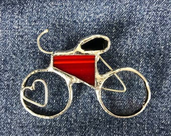 Bicycle Stained Glass Lapel Pin Brooch with Heart