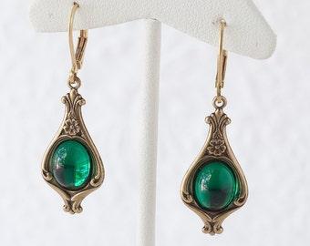 Emerald Earrings Emerald Green Earrings Dangle Earrings Art Nouveau Earrings Downton Abbey Earrings Great Gatsby Earrings May Birthstone