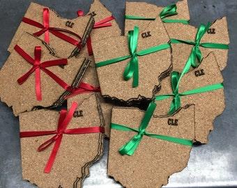 CLE engraved Ohio cork coasters (set of 4)
