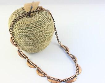 Vintage Necklace Copper Metal Art, Estate Jewelry