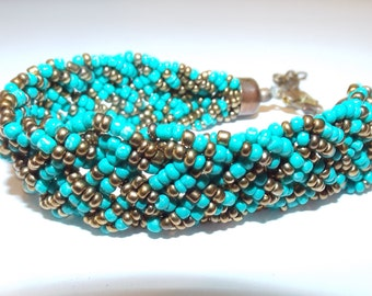 Vintage 1980s Bohemian Hippie Beaded Bracelet Women's Fashion Accessories