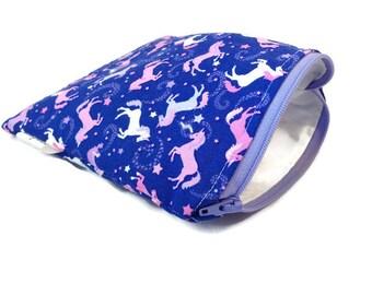 Unicorn Snack Bag || Reusable Sandwich Bag || Reusable Snack bag || Eco Friendly Gift || Zippered Pouch || Food Safe Bag
