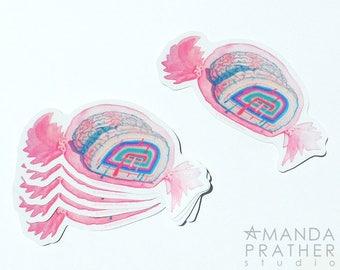 Brain Candy Vinyl Art Sticker // Illustration Painting // Surreal Pop // Low Brow // Pastel Goth