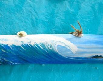 Drift Wood Bamboo Decor HAND pAINTED wAVE-   Surf art- BEach Decor-fOR hIM