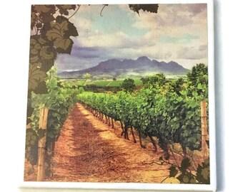 Vineyard Tile Trivet Kitchen Decor Cookware Ceramic Tile Hot Plate Housewarming Gift Scenic View Vines Wine Winery Blue Sky