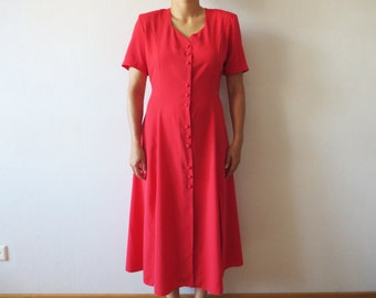 Hot Red Long Dress Short Sleeve Tied at the back Button Up Bright Red Maxi Dress Deep Side Slits Waist Shoulder Pads Large Size Made in UK