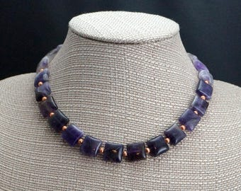 Square Amethyst Beads with Copper Accents
