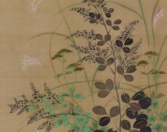 Antique Japanese Fine Art Wall Hanging Scroll Painting Autumn Seasonal Flowers – 1510030