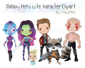 Galaxy Heroes cute character clipart Instant download, PNG file - 300 dpi