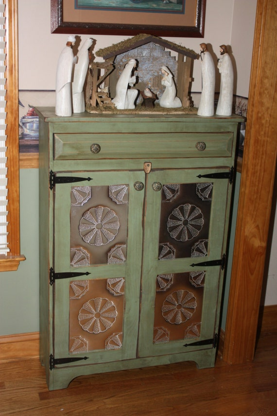 Pie Safe FREE SHIPPING Punched Tin Cabinet Shabby Chic
