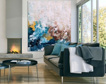 Handmade Large Abstract Painting, Acrylic Painting on Canvas. Extra Large Painting - Wall Art, Modern Textured bright Yellow, Blue, Brown