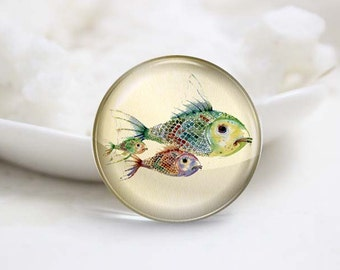 Round Glass Photo Cabochons Photo Glass Cabs-Fish (P3175)