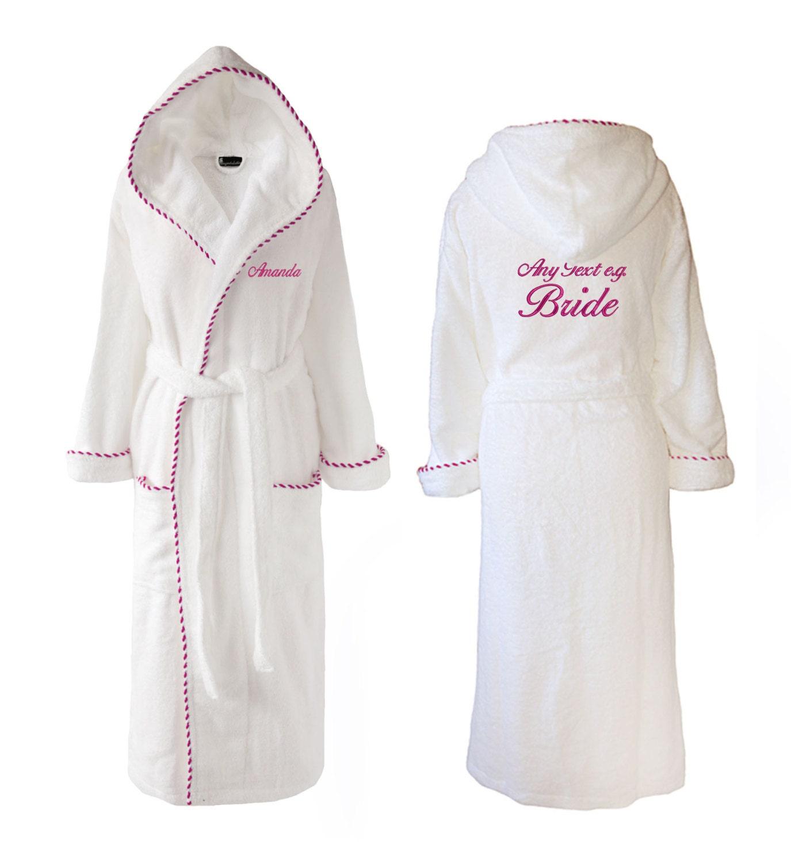Personalised Wedding Towelling Dressing Gown Hooded Towelling
