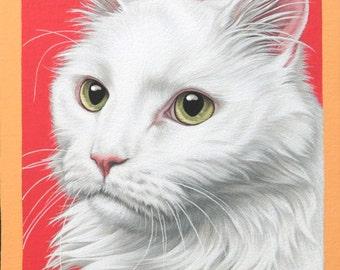 Custom Cat Pet Portrait, 10x15 Handpainted Cat Art, Holiday Gift for Crazy Cat Ladies, Realistic Custom Pet Portrait, Fluffy White Cat Art