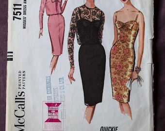 Misses 60s Evening Slim Cocktail Sheath Dress with Bow and Sheer Lace Bolero Jacket Vintage 1960s McCall's 7511 Sewing Pattern Size 14 B 34