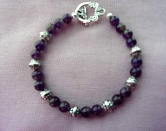 Genuine amethyst and pewter bracelet