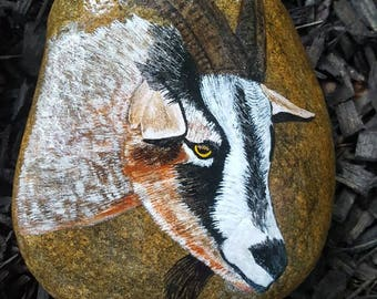 Charmant Goat On Stone/Billy Goat Painting/Goat Art/Farm Animal Art/Wildlife