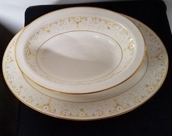 """Vintage Noritake Fragrance Pattern 10"""" Oval Vegetable Bowl and 13"""" Oval Serving Platter"""