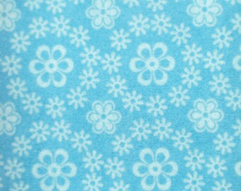Blue with Flowers! Flannel by the yard