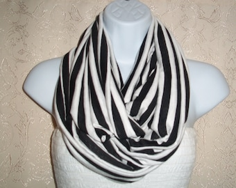 COTTON Jersey scarf Infinity scarf, Tube scarf, Circle scarf, White striped, Black striped, Jersey scarf