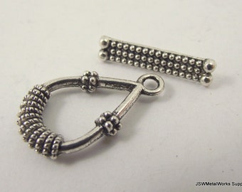 2 Teardrop Rope Pewter Toggle Clasp, Ornate Silver Toggle Clasp