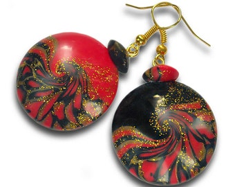 Red black earrings Black red earrings Red earrings Round earrings Red and black earrings Black and red earrings Red round earrings