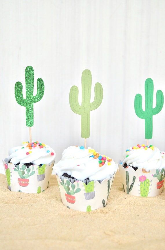 Southwest Style Cactus Cupcake Toppers - Choose from Green Glitter, Green, Olive Green, or Green with White Dots.