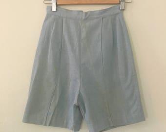 Vintage 1960s Shorts | Westway Miss of Dallas | Blue High Waist Shorts | 60s Mod Shorts XS