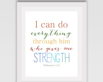 INSTANT DOWNLOAD // Bible verse sign // Bedroom sign // Home sign // Strength sign // I can do everything through Him // Philippians 4:13