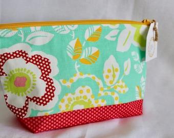 Teal Tropical Zipper Bag