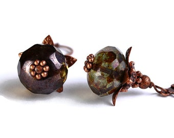 Lumi green Czech glass rondelle with antiqued copper earrings (421)