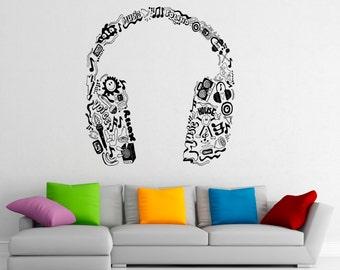 Music Headphones Wall Decal Vinyl Stickers Music Notes Home Interior Art Design Murals Bedroom Wall Decor (6m01c)