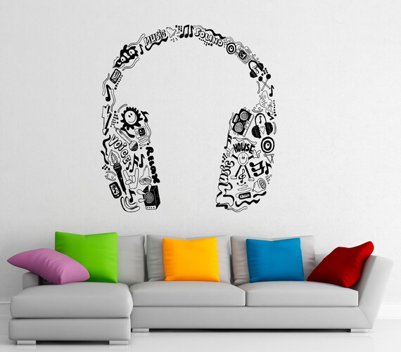 Music headphones wall decal vinyl stickers music notes home