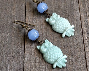 Green Owl Earrings Blue Chalcedony Gemstone Beads & Carved Owl Charms Court of Owls In Bronze