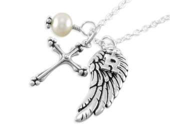 Remembrance Necklace. Memorial Jewelry. Personalized. pearl. sympathy. infant loss. Sterling silver. initial, angel wing, cross, ROCHELLE