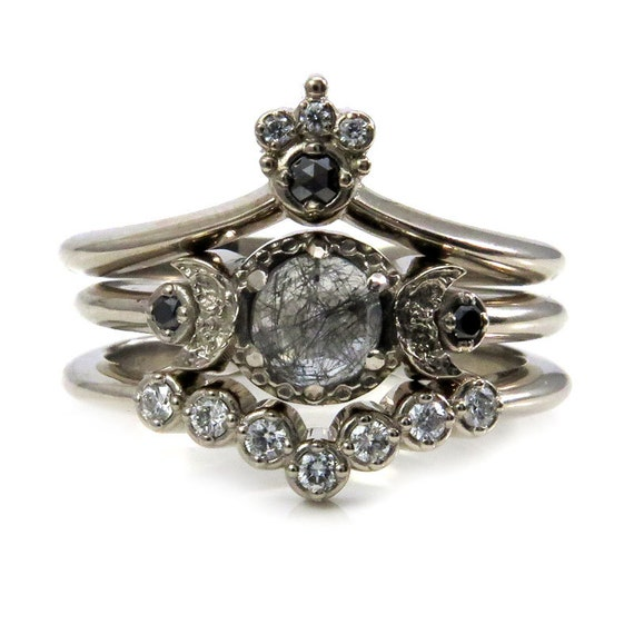 Celestial Goth Engagement Ring Set - Black Rutile Quartz Moon Engagement Ring with Nesting Wedding Bands