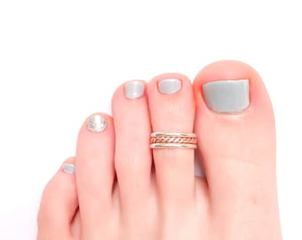 Twist Toe Ring, Silver Toe Ring, Rose Gold Toe Ring, Rose Gold-Filled, Twisted Toe Ring, Summer Toe Ring, Adjustable Toe Ring
