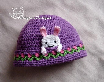 Bunny Beanie with Flower Buds, New Born - Adult, INSTANT DOWNLOAD Crochet Pattern