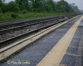 Travel photo, train track photography perfect for those with a wanderlust or to decorate any space