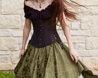 Green Brocade Pixie Skirt - Renaissance Clothing - Halloween Costume - Ren Faire Garb - Petal Skirt - Pirate Costume - Medieval Clothing