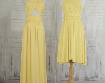 Light yellow  dress,Bridesmaid Dress , long infinity Dress,Knee Length Wrap Convertible Dress.Party dress-B36#C36#