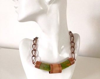 Copper & Handmade green felted pendant necklace