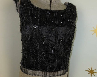 Vintage 1950s black beaded sparkly sleeveless top large 160