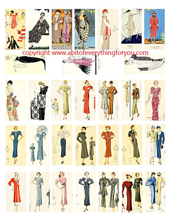 "1920s 1930s flapper girls womens fashion clipart digital download domino collage sheet 1"" x 2"" inch graphics image printables"