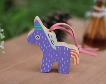 Wooden Painted Purple Unicorn keyring,Wooden Painted Unicorn keychain,Animal Wooden Keyring,Keyring,Gift for her,gift for him,accessories
