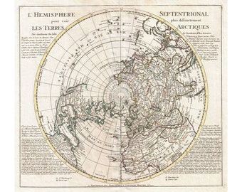 Map Of The Northern Hemisphere, North Pole, Arctic Antique Map, 1741