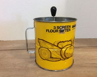 Vintage 3 Screen Yellow Flour Sifter- Large