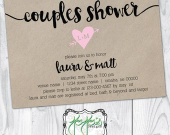 Couples Shower, Faux Kraft Paper, Pink Heart, Simple Wedding Shower Invitation (Digital File)