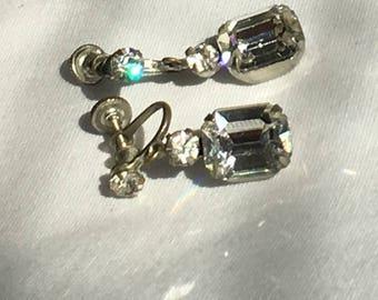 Clear Rhinestone Earrings, Dangle, Rectangle, Silver Tone, Screwback, Vintage, 1950s