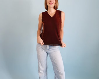 Shimmering/Sparkly Burgundy/Rust Coloured 90s Tank Top
